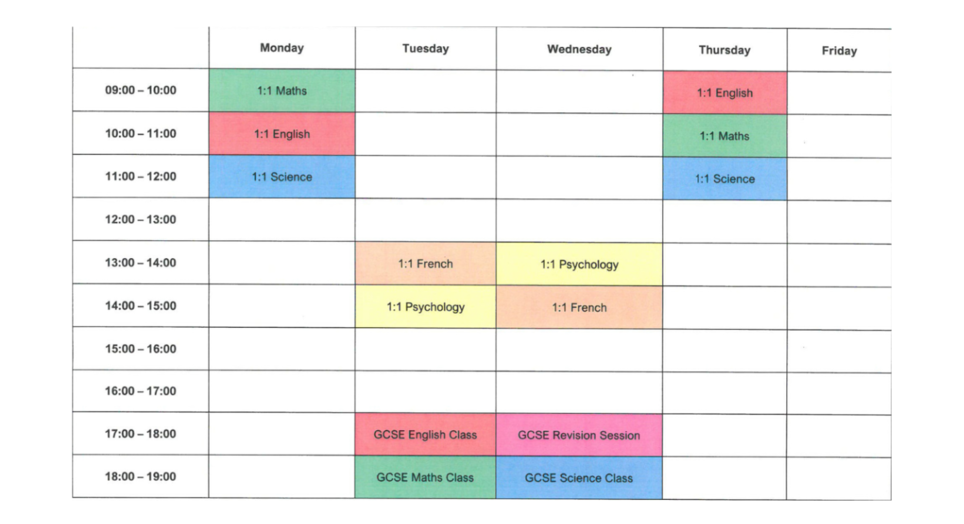 Home schooling Bedford Timetable